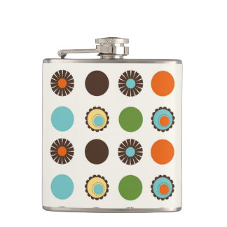 Fun Colorful Retro Boho Abstract Pattern Hip Flask