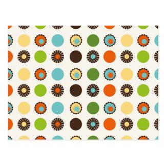 Fun Colorful Retro Boho Abstract Pattern Postcard