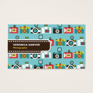 Fun Colorful Retro Lomo Cameras Pattern (Blue) Business Card