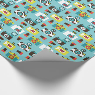 Fun Colorful Retro Lomo Cameras Pattern (Blue) Wrapping Paper