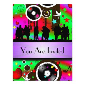 Fun colorful retro music  party 11 cm x 14 cm invitation card