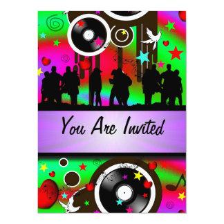 Fun colorful retro music  party 5.5x7.5 paper invitation card