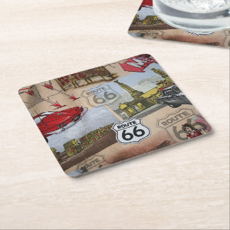 Fun Colorful Route 66 Collage Pattern Square Paper Coaster