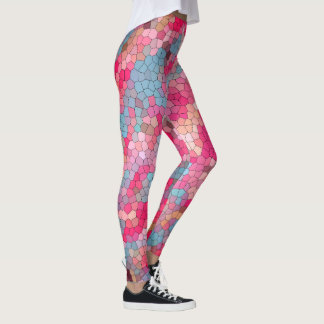 Fun Colorful Stained Glass Pattern Leggings