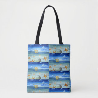 Fun & Colorful Starfish Sky Pattern Tote Bag