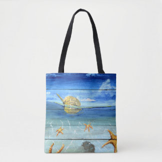 Fun & Colorful Starfish Sky Tote Bag by Yotigo