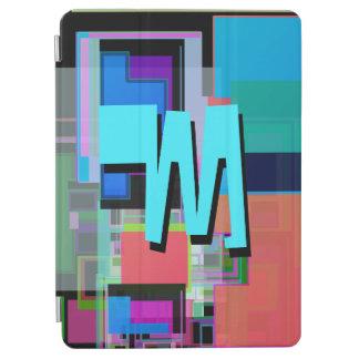 Fun Colorful Turquoise Blue Geometric Monogram