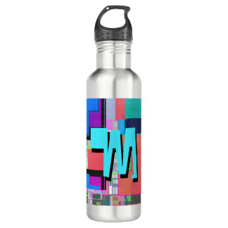 Fun Colorful Turquoise Blue Geometric Monogram 710 Ml Water Bottle