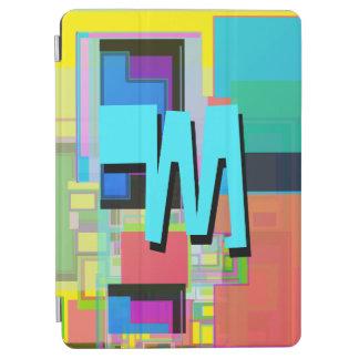 Fun Colorful Turquoise Blue Geometric Monogram iPad Air Cover