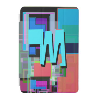 Fun Colorful Turquoise Blue Geometric Monogram iPad Mini Cover