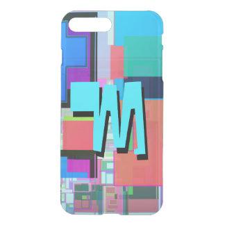 Fun Colorful Turquoise Blue Geometric Monogram iPhone 8 Plus/7 Plus Case