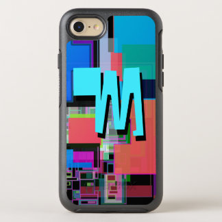 Fun Colorful Turquoise Blue Geometric Monogram OtterBox Symmetry iPhone 8/7 Case