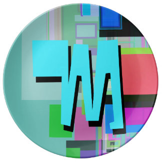 Fun Colorful Turquoise Blue Geometric Monogram Plate