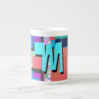 Fun Colorful Turquoise Blue Geometric Monogram Tea Cup