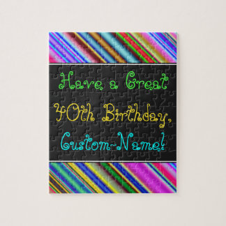 Fun, Colorful, Whimsical 40th Birthday Puzzle