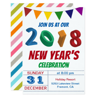 Fun Colourful 2018 New Year's Eve Party Invitation