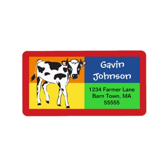 Fun Colourful Baby Cow Address Label