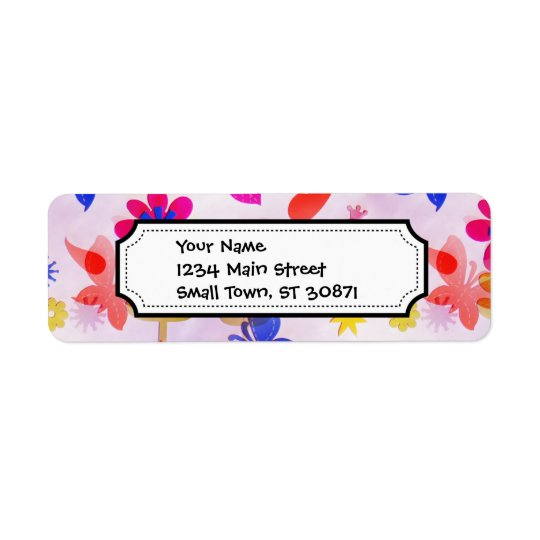 Fun Colourful Flowers Butterflies Birds Spring Return Address Label