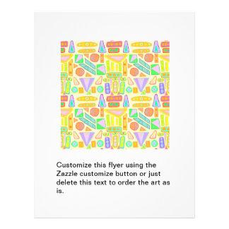 Fun colourful pattern abstract symbols bright 21.5 cm x 28 cm flyer