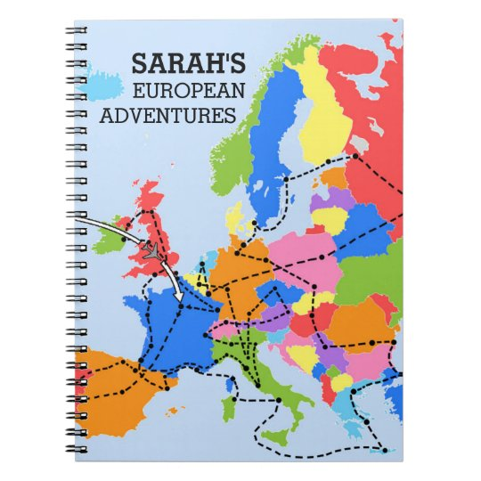 Fun colourful personalised european travel journal zazzle fun colourful personalised european travel journal gumiabroncs Images