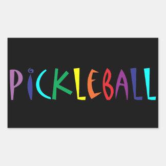 Fun Colourful Pickleball Letters Design Rectangular Sticker