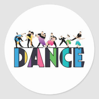 Fun & Colourful Striped Dancers Dance Classic Round Sticker