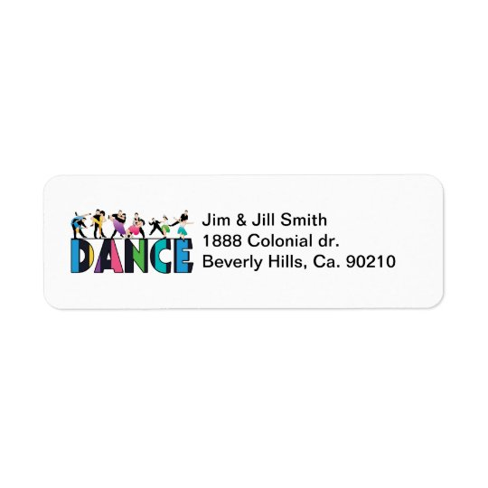 Fun & Colourful Striped Dancers Dance Return Address Label