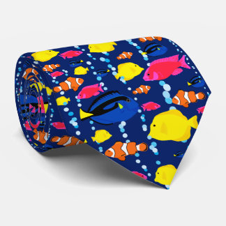 Fun Colourful Tropical Fish and Bubbles Tie