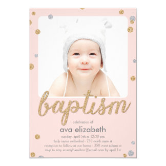 Fun Confetti Baptism Invitation - Pink