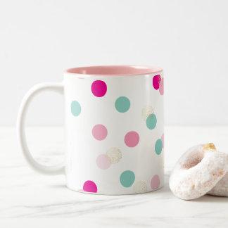 FUN CONFETTI SPOTS cute fun retro mint pink gold Two-Tone Coffee Mug