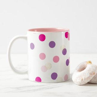 FUN CONFETTI SPOTS cute fun retro purple pink gold Two-Tone Coffee Mug
