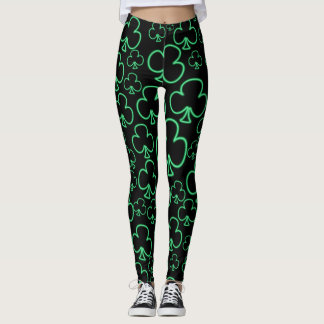 Fun Cool and Unique Pattern of Neon Shamrocks Leggings