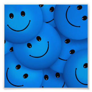 Fun Cool Happy Blue Smiley Faces Photo