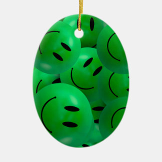 Fun Cool Happy green Smiley Faces Ceramic Oval Decoration