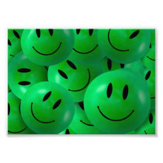 Fun Cool Happy green Smiley Faces Art Photo