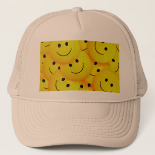 4277516272c40 Fun Cool Happy Yellow Faces Trucker Hat
