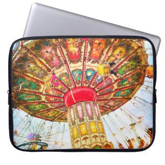Fun & cool vintage retro carnival swing ride photo laptop sleeve