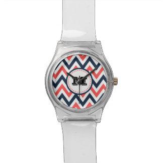 Fun Coral & Navy Chevron Pattern with Monogram Watch