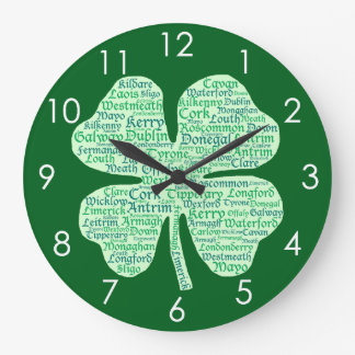 Fun Counties of Ireland Shamrock Large Clock