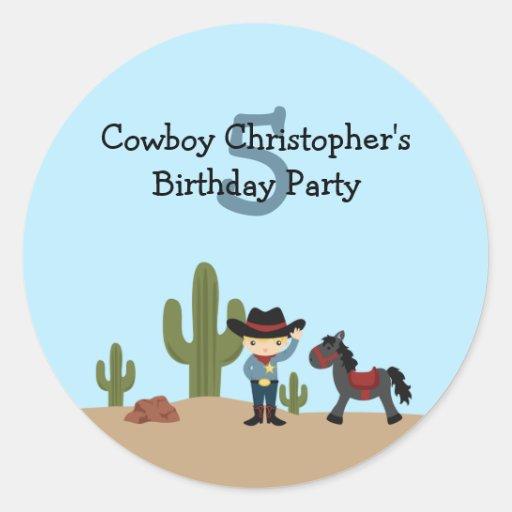 Fun cowboy western boy's birthday party stickers
