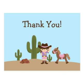 Fun cowgirl western girl thank you postcard