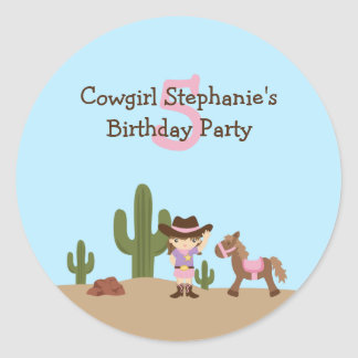 Fun cowgirl western girl's birthday party stickers