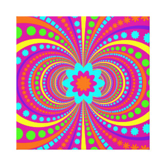Fun Crazy Pattern Hot Pink Orange Teal Gallery Wrapped Canvas