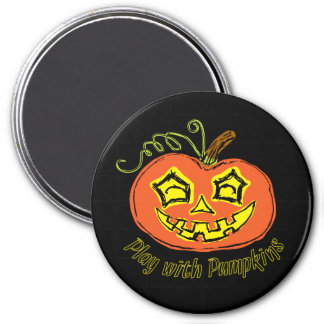 Fun & Creepy Orange Play Pumpkin 7.5 Cm Round Magnet