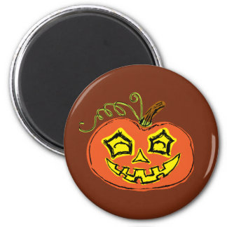 Fun & Creepy Orange Pumpkin 6 Cm Round Magnet