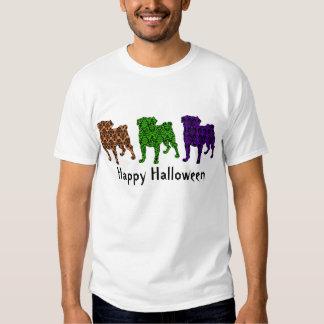 Fun Customizable Halloween Damask Pugs Tee Shirts