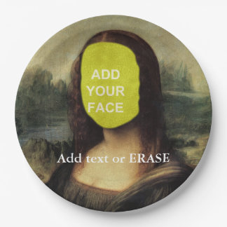 "Fun customizable Leonardo Da Vinci ""Mona Lisa""… Paper Plate"