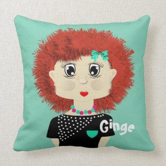 Fun Cute Big Red Haired Cartoon Girl Cushions