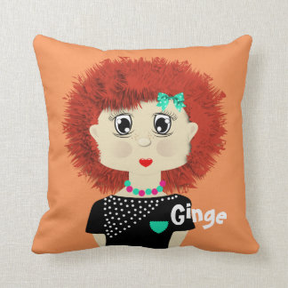 Fun Cute Big Red Haired Cartoon Girl Throw Cushion
