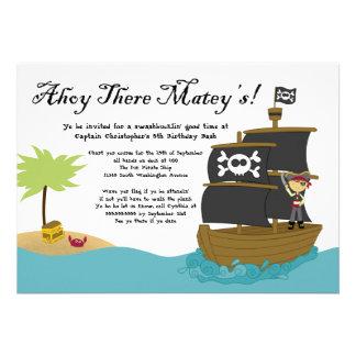 Fun cute boy s pirate birthday party invitation